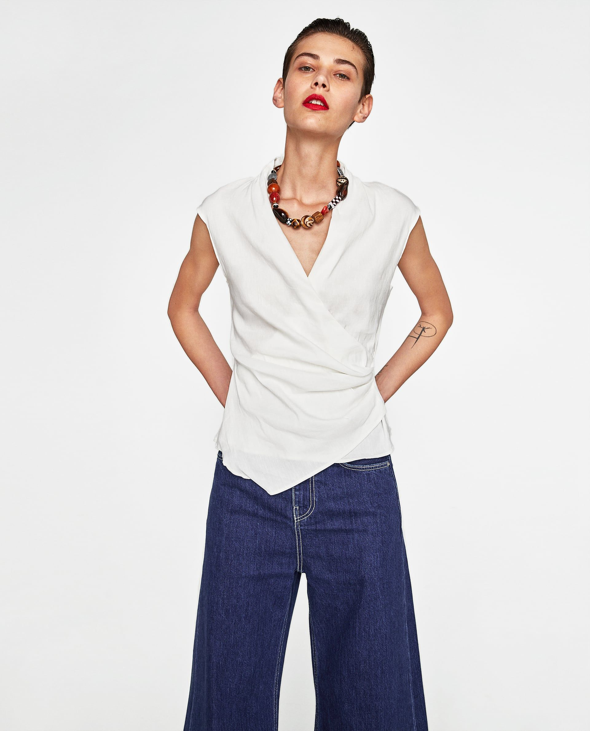 148 Best Linen Images On Pinterest: Image 2 Of DRAPED LINEN TOP From Zara