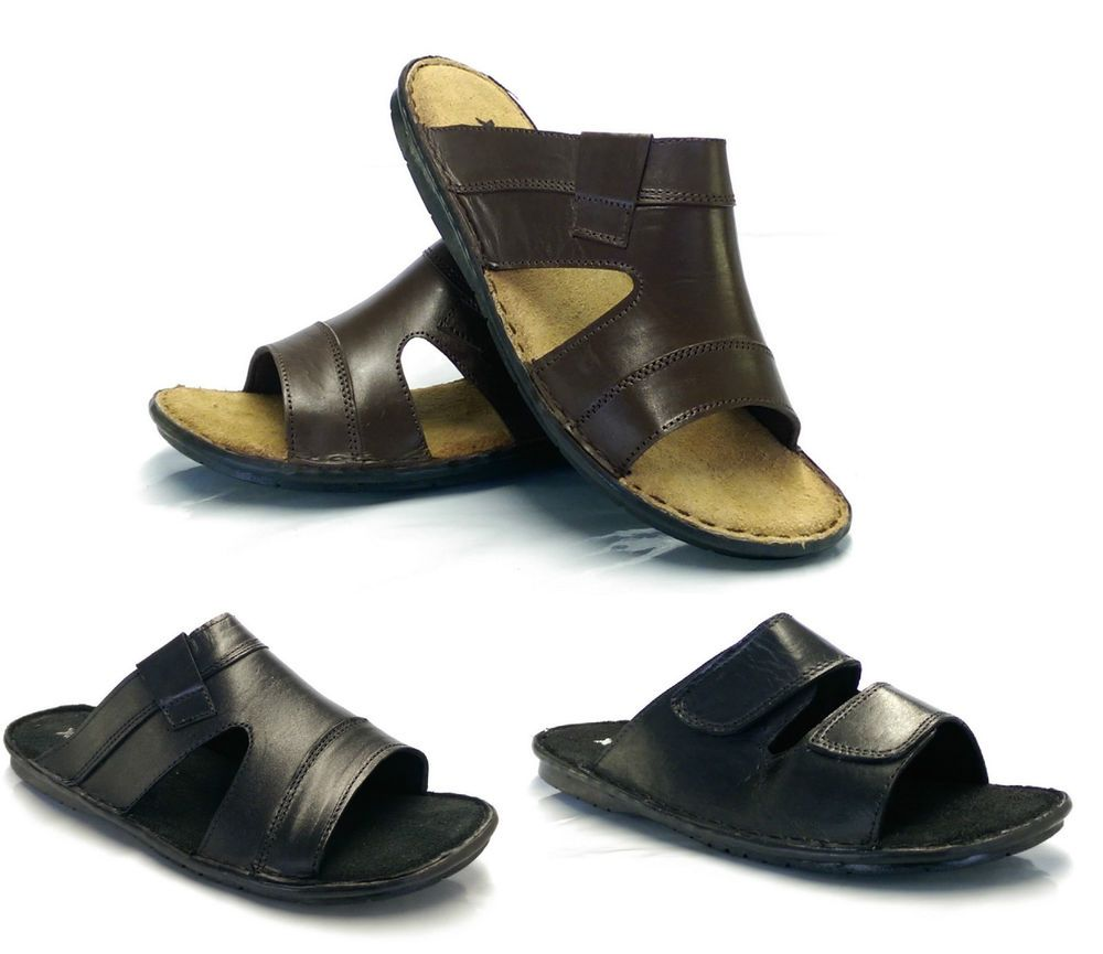 38cf99a055b491 Mens New Real Soft Leather Velcro Walking Summer Beach Mules Sandals by  Moza X