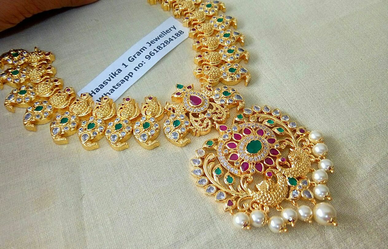 1 Gram Gold Jewellery Wholesale Contact Whats App On 9618284188 Gold Jewelry Fashion Bridal Jewelry Collection Gold Necklace Indian Bridal Jewelry