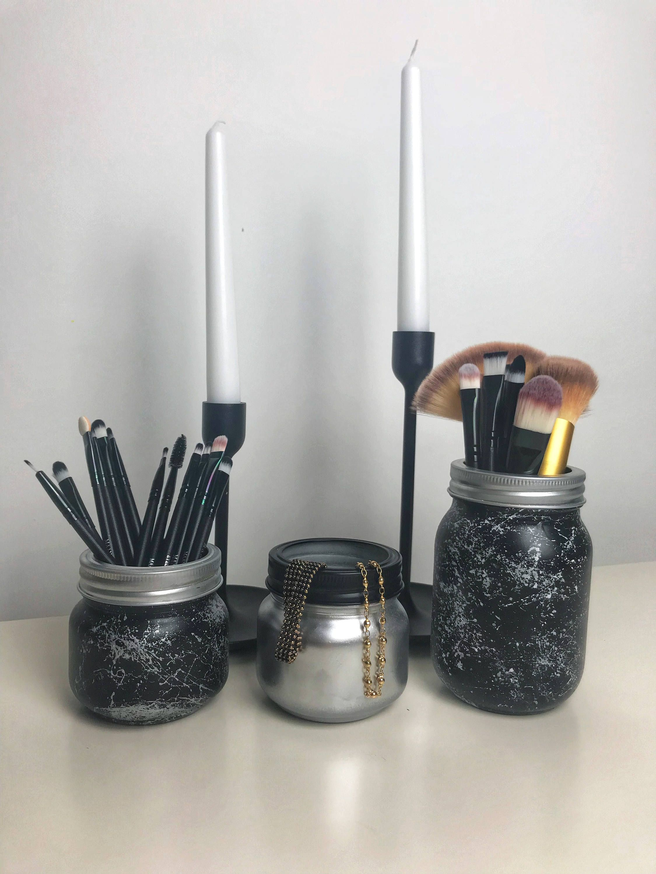 Black Marble Mason Jar Make up Brush Holder Desk