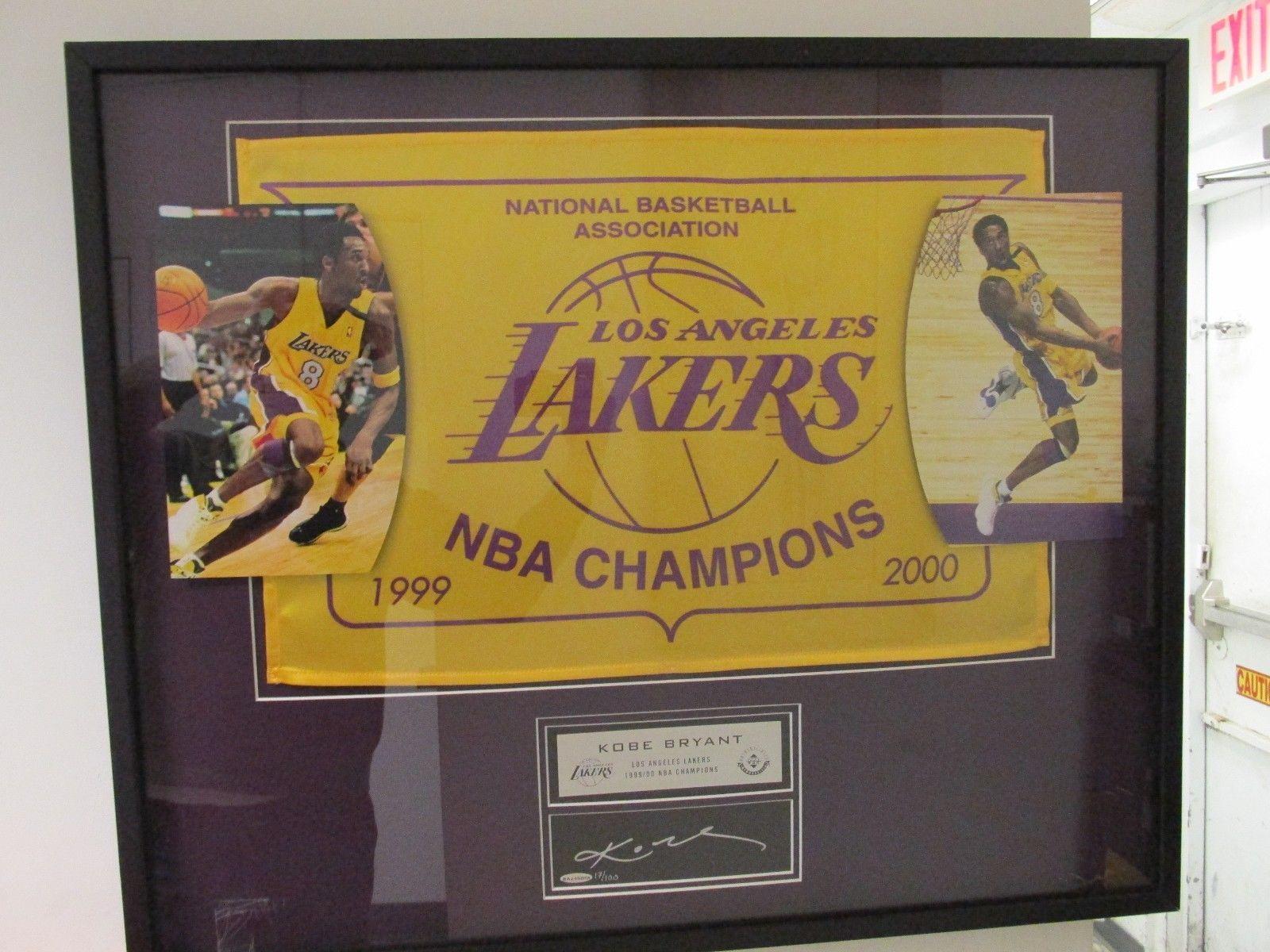 Framed Kobe Bryant Nba Championship Banner Autograph 1999 2000 La Lakers Kobe Bryant Nba Kobe Bryant Nba Championships