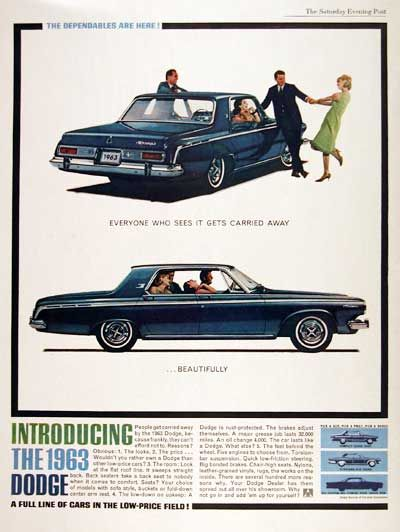 "1963 Dodge Polara Sedan original vintage advertisement. Get carried away. ""The Dodge Dependables are here!"""