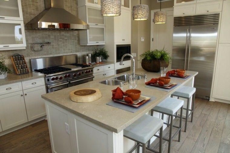 Cocinas blancas con muebles de madera muy modernas | Suelo de la ...