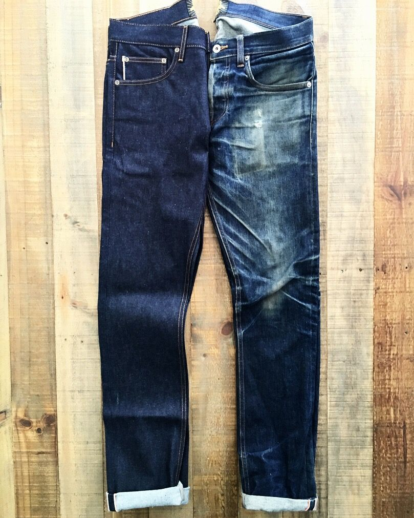 609c9c5439 Brave Star Slim Straights in 13.5oz Cone Mills selvage many months and  miles apart. Worn often