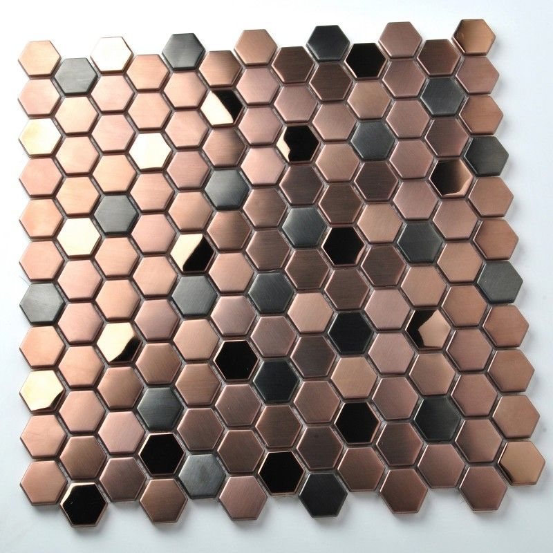 Hexagon Stainless Steel Brushed Mosaic Tile Rose Gold Black Bathroom Shower Floor Tiles Tstmbt021 Shower Floor Tile Bathroom Feature Wall Penny Tile Backsplash