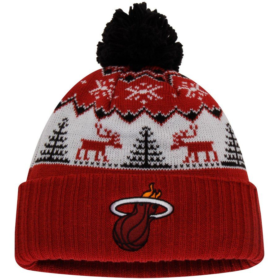 23a6040fc71 Men s Miami Heat adidas Red Snowflake Cuffed Knit Hat with Pom ...