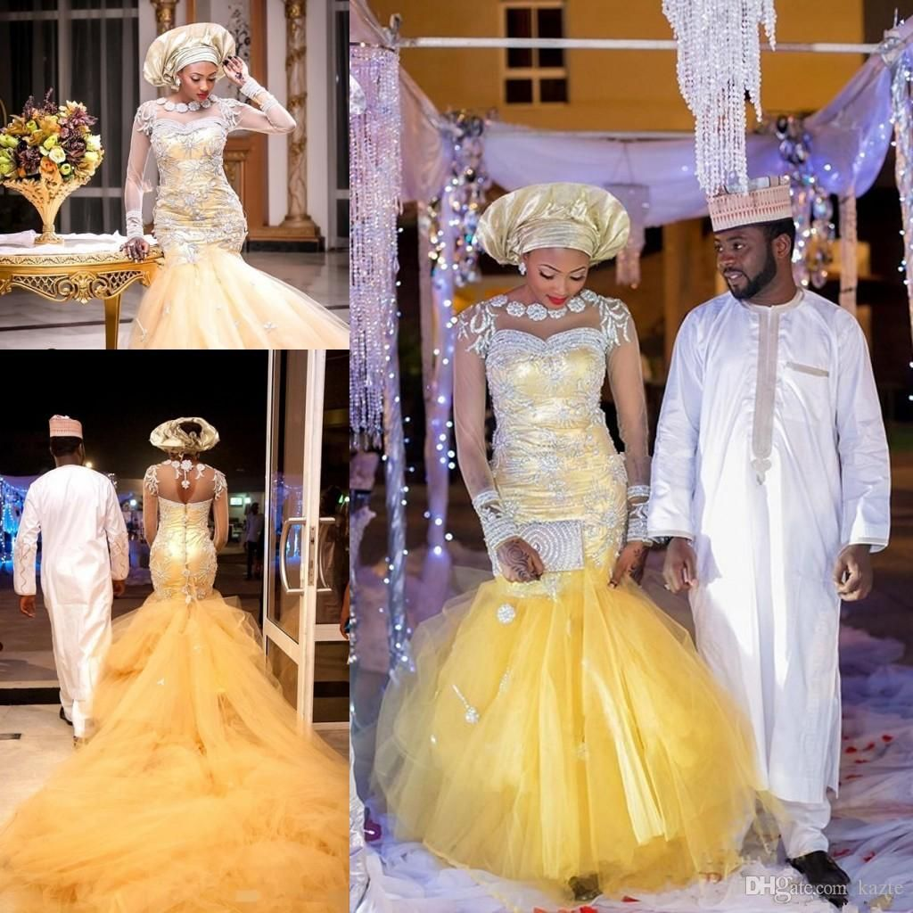 African Traditional Wedding Dresses Nigeria Gold Wedding Gowns 2018
