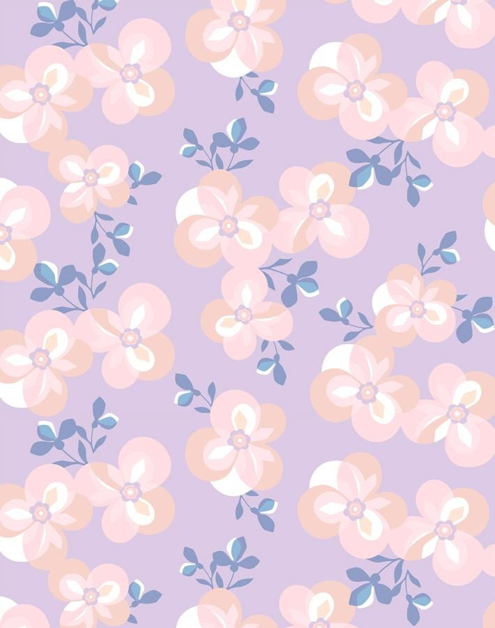 'Graphic Flower' Wallpaper by Tea Collection - Lilac - Wallpaper Roll