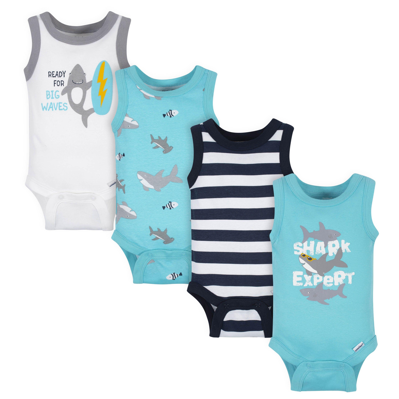 Hudson Baby Boy Sleeveless Bodysuits 5-Pack Shark