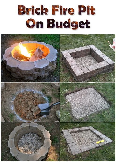Brick Fire Pit On Budget With Images Diy Outdoor Fireplace