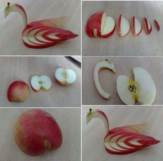 Cisne feito de maça