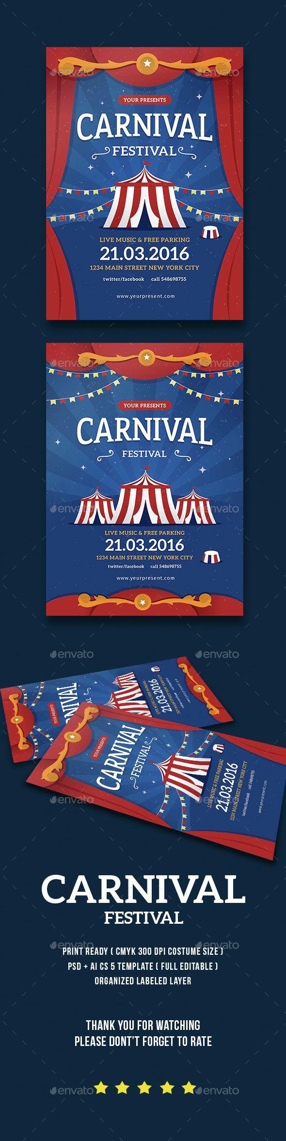 Carnival Festival Flyer / Poster | Circo, Carnavales y Anuarios