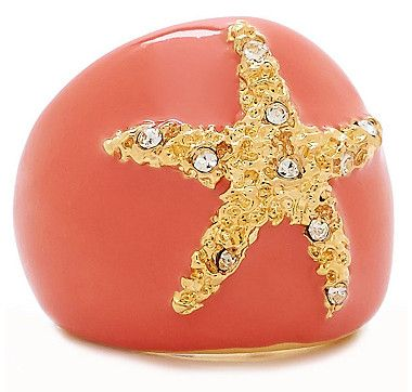 Kenneth Jay Lane Coral Starfish Ring Coral YS57P26
