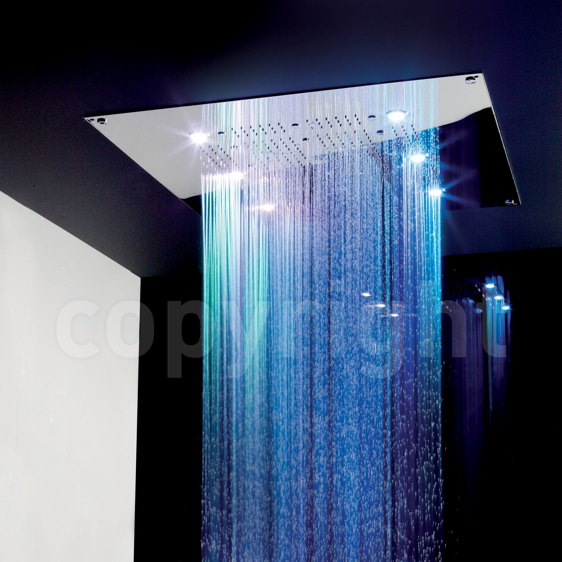 Rio Shower Head With Lights 600mm Square | bathrooms | Pinterest ...