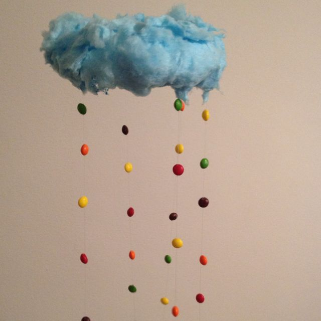 raining skittles from a cotton candy cloud food and drink cotton