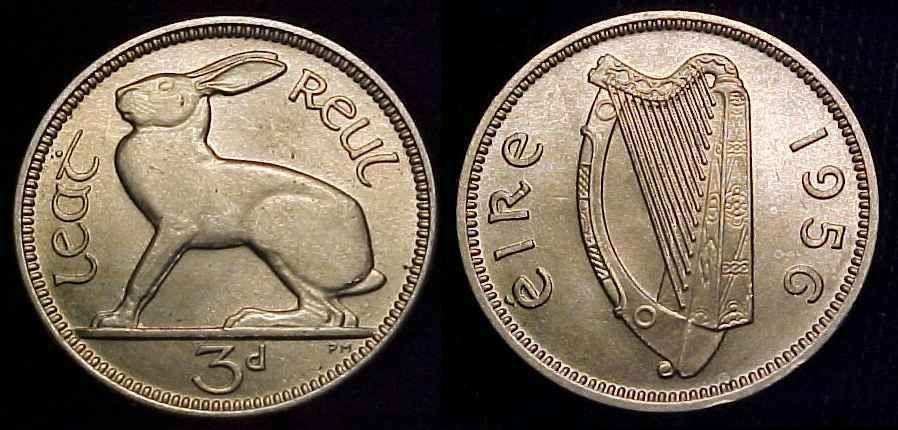 1956 Ireland threepence obv + rev