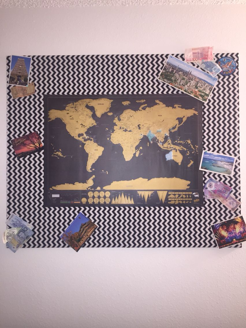 World map cork board i made plywood covered with cork board that i world map cork board i made plywood covered with cork board that i hot glued gumiabroncs Image collections
