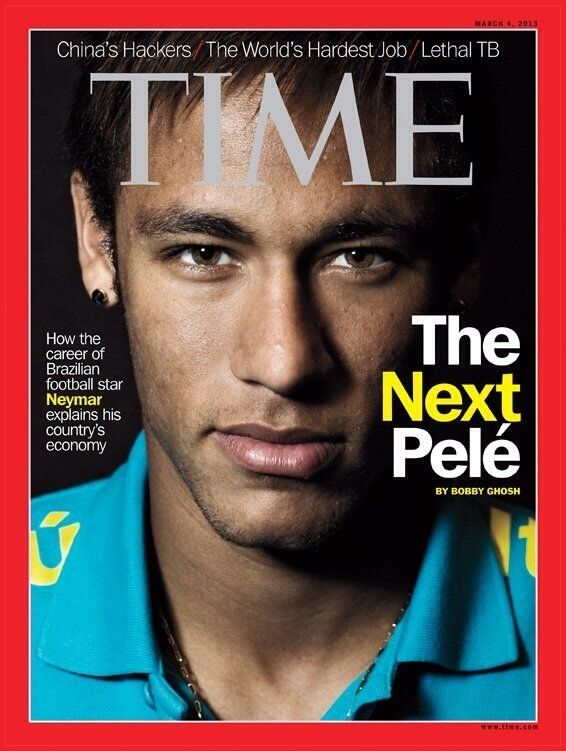 TIME: Neymar - The next Pele/  Neymar is the only Brazilian athlete to ever grace the cover of TIME magazine.