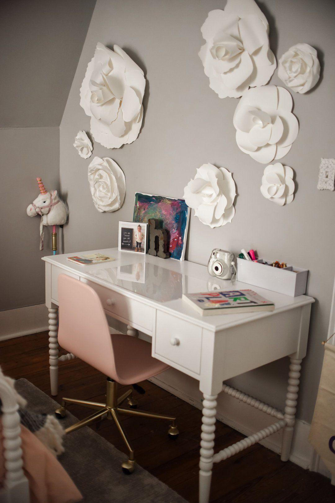 Harper's Bedroom Reveal Girls room design, Pink desk
