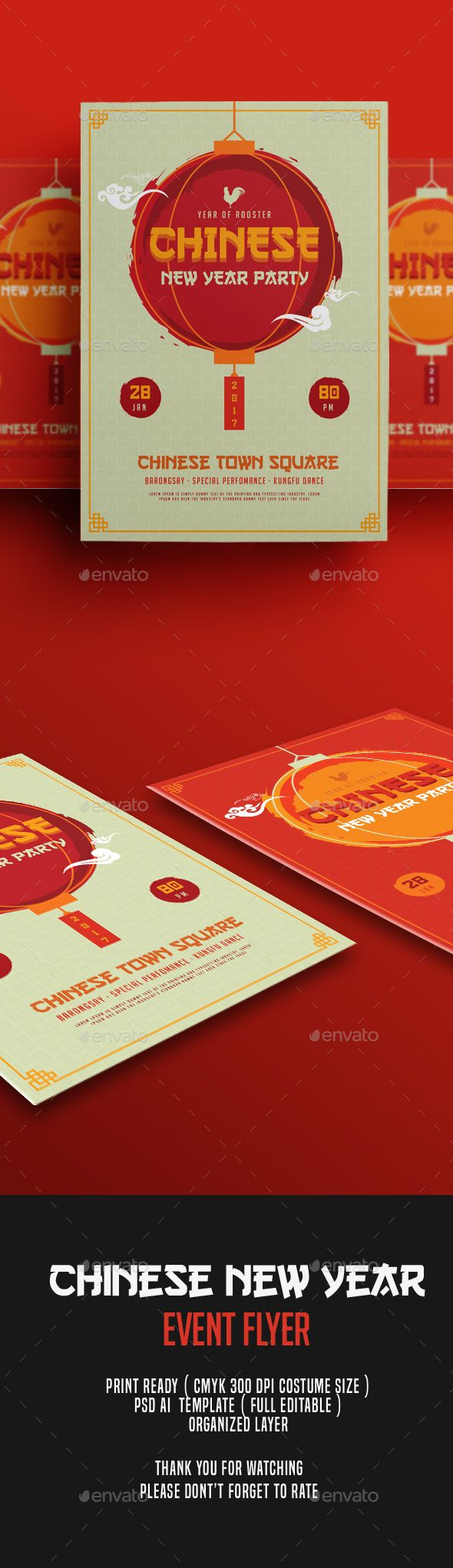 Chinese New Year Flyer | Ai illustrator, Flyer template and Template