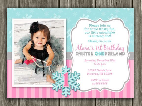Winter ONEderland Invitation 1 - FREE thank you card included ...