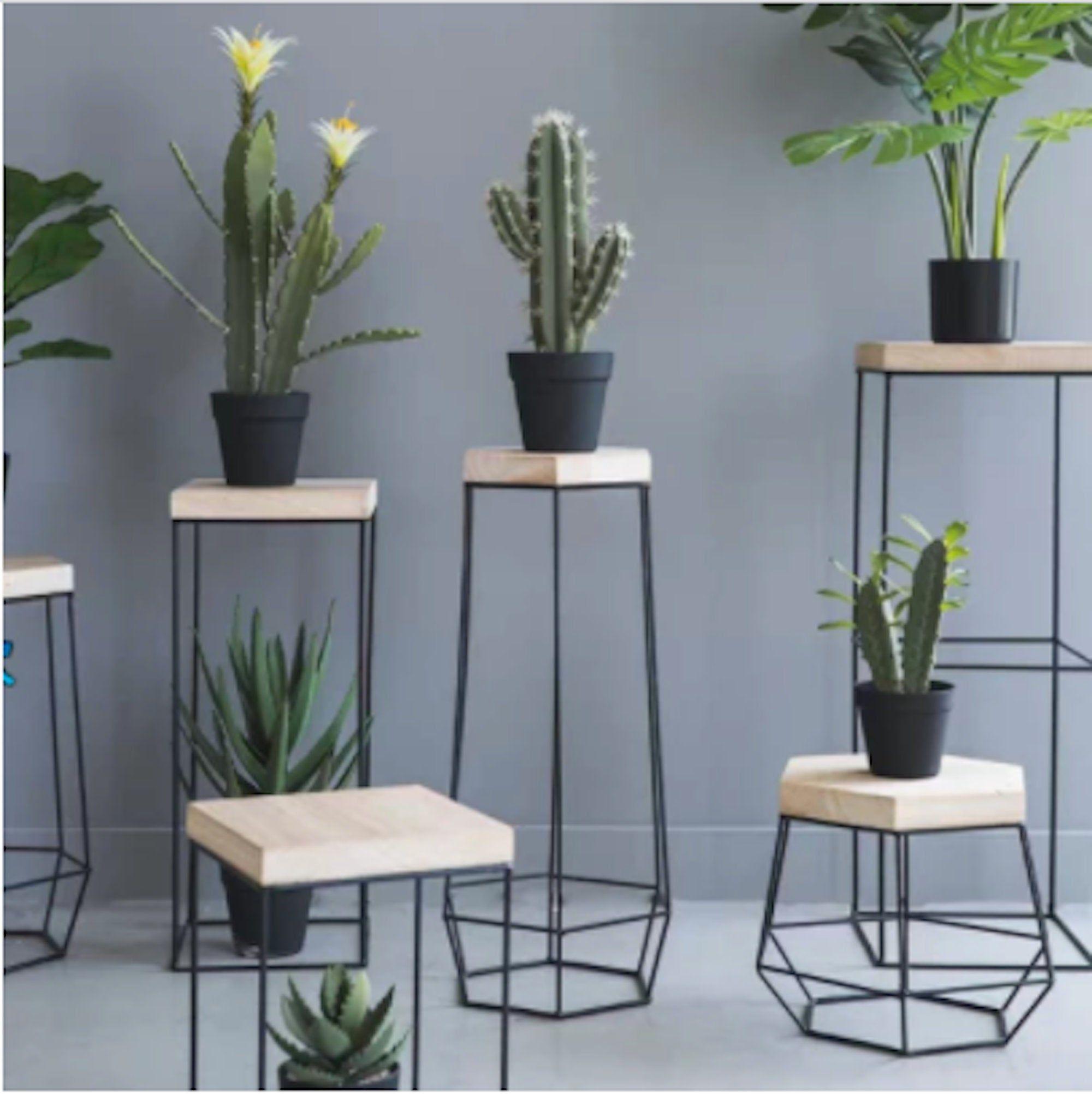 Handmade Metal Plant Stand for Home,Terrace & Office Decor. Modern Geometric Steel Frame in Gold/Black Polish,Solid Wood Sturdy Flower Rack.
