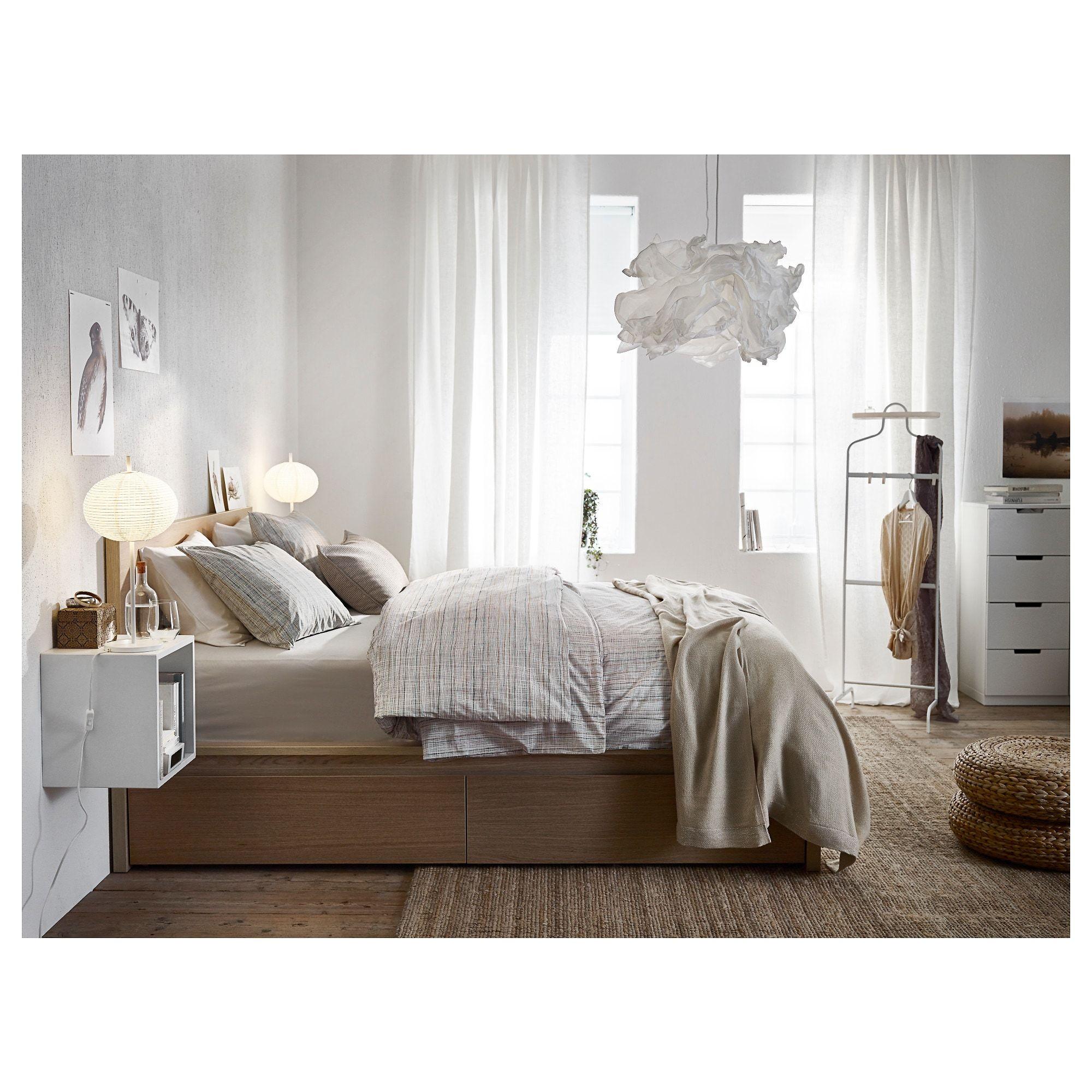 Malm Rama łóżka Wysoka 2 Pojemniki Okleina Dębowa