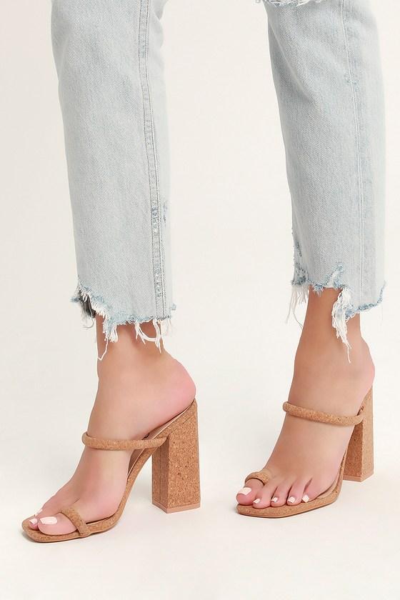 Louisa Cork Toe-Loop High Heel Sandals