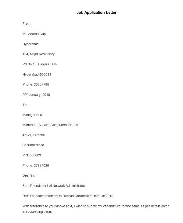 free application letter templates amp premium format for job - application letter formats