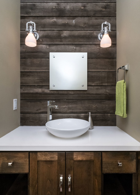 Pallet Wall Behind A Sink Reclaimed Wood Accent Wall Bathroom Design Small Bathroom Design