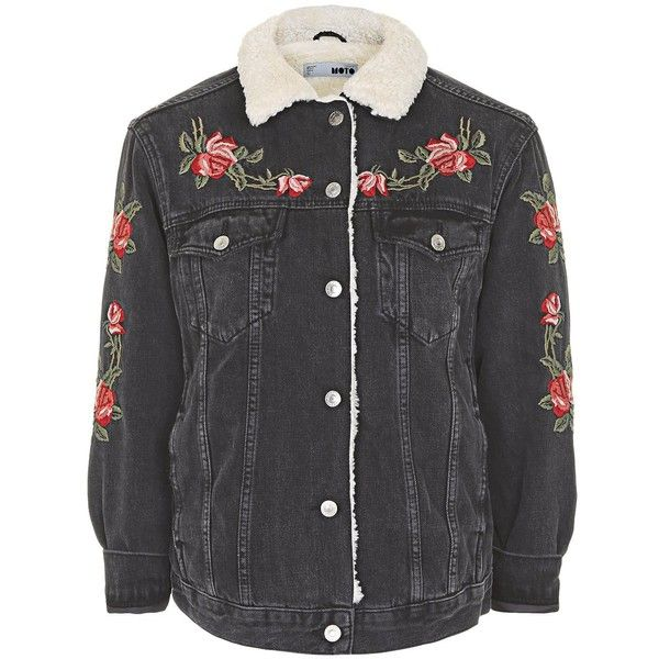 Topshop Moto Embroidered Borg Jacket (8330 ALL) Liked On