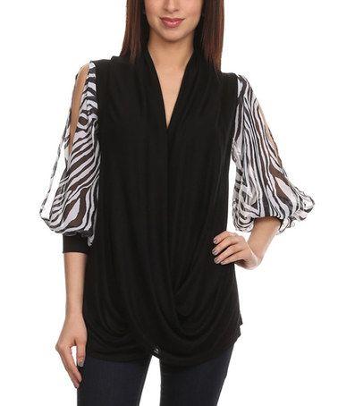 Look at this #zulilyfind! Black Zebra-Sleeve Cutout Top - Plus by J-Mode USA Los Angeles #zulilyfinds