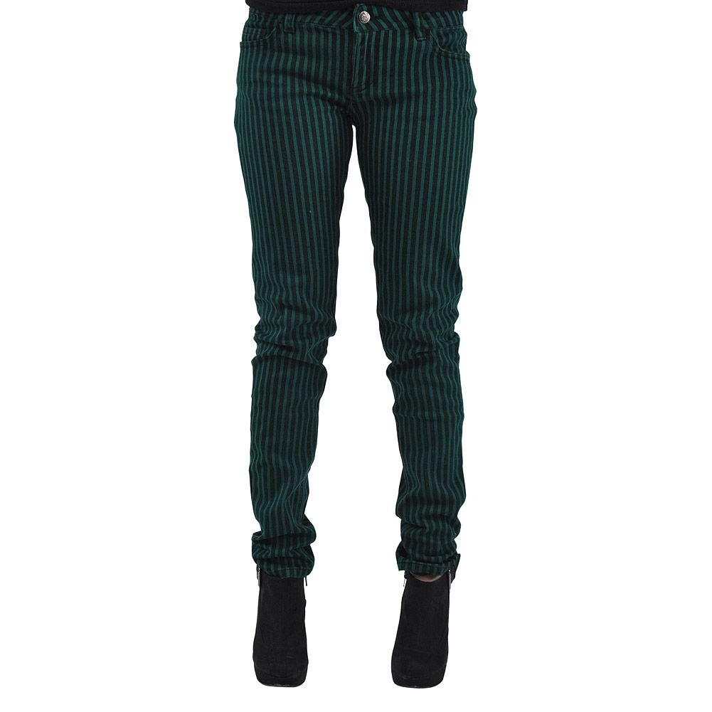 Bleeding Heart Striped Skinny Fit Jeans (Black/Green)