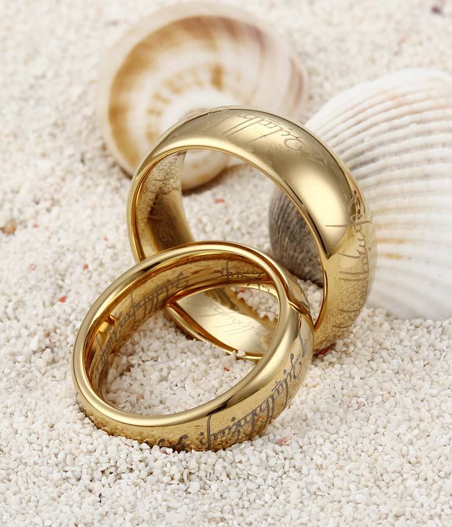 Find This Pin And More On Wedding Ideas S Gold Plating The Lord Of Rings Tungsten Band Set