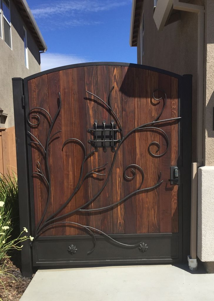 Wrought Iron Wood Gate Design Side Yard Gate Wooden Gate