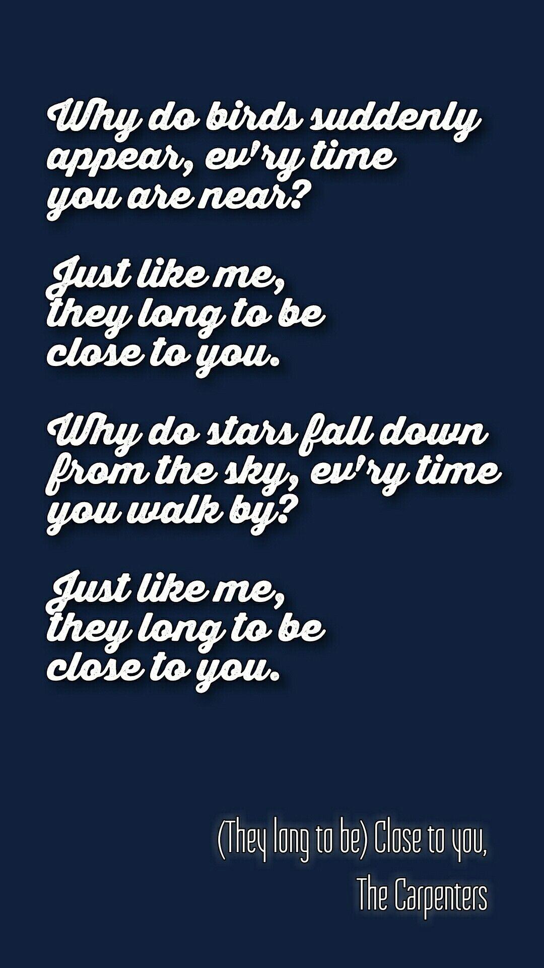 Song lyrics why do birds suddenly appear
