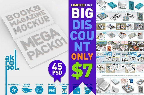 Download Book & Magazine Mock Ups Mega Pack | Design mockup free ...