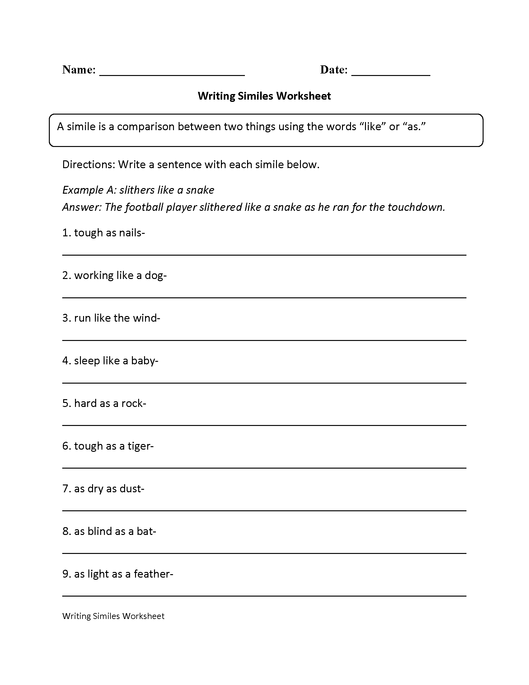 hight resolution of Writing Simile Worksheet   Simile worksheet