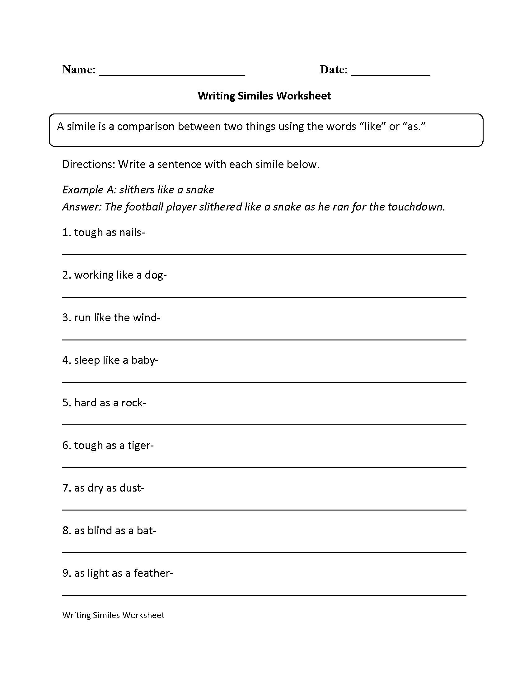 Writing Simile Worksheet   Simile worksheet [ 2200 x 1700 Pixel ]