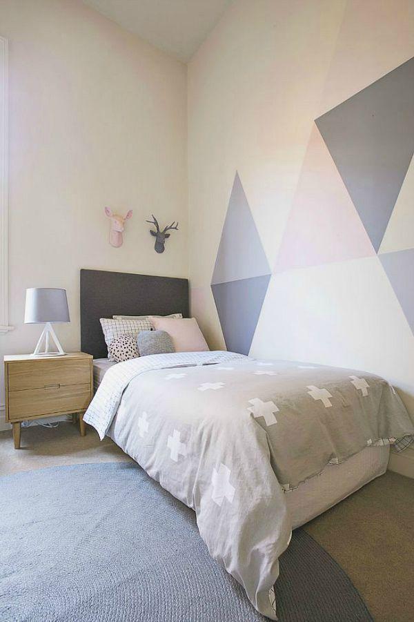 Paredes pintadas con triángulos (Decoración Hogar) depa
