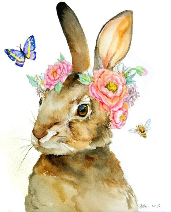 Bunny W Flowers Around Ears And A Butterfly And Wasp By Asho