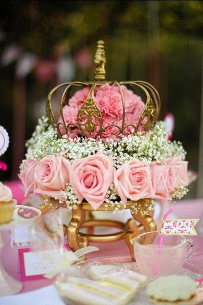 Gold and pink floral princess themed centerpieces