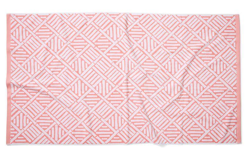 Bamboo Lattice Beach Towel Blush Beach Towel Linen Bedding