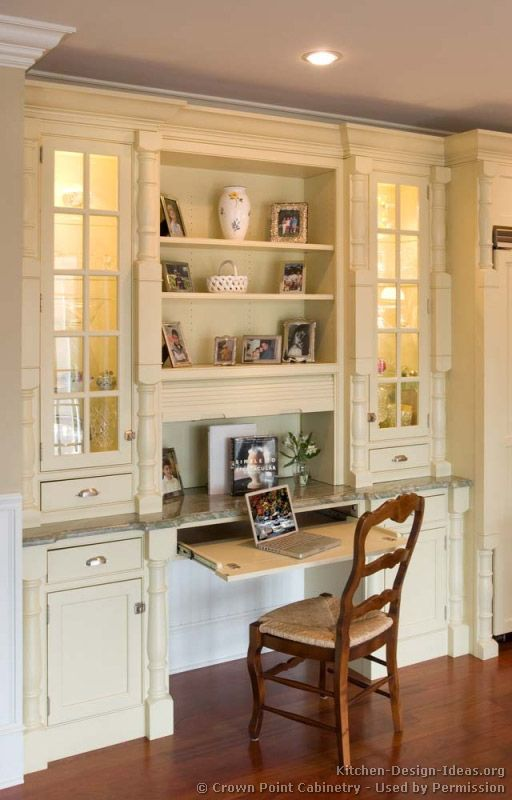 idea of the day antique white kitchen cabinets by crown point cabinetry love that kitchen desk - Kitchen Desk Ideas