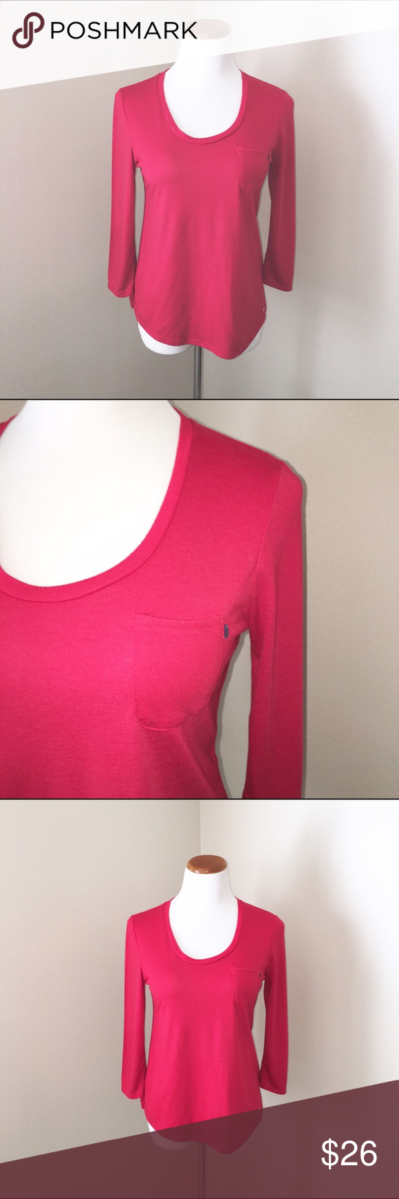 Tommy Hilfiger Top Tommy Hilfiger Top. Great for weekend wear. Pocket on one side. Beautiful red color. Size SP Tommy Hilfiger Tops