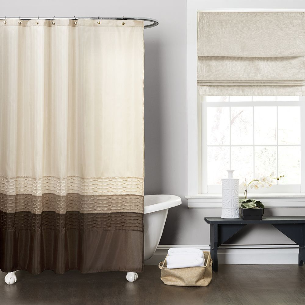 Copper Grove Wareham Wheat Taupe Chocolate Brown Shower Curtain