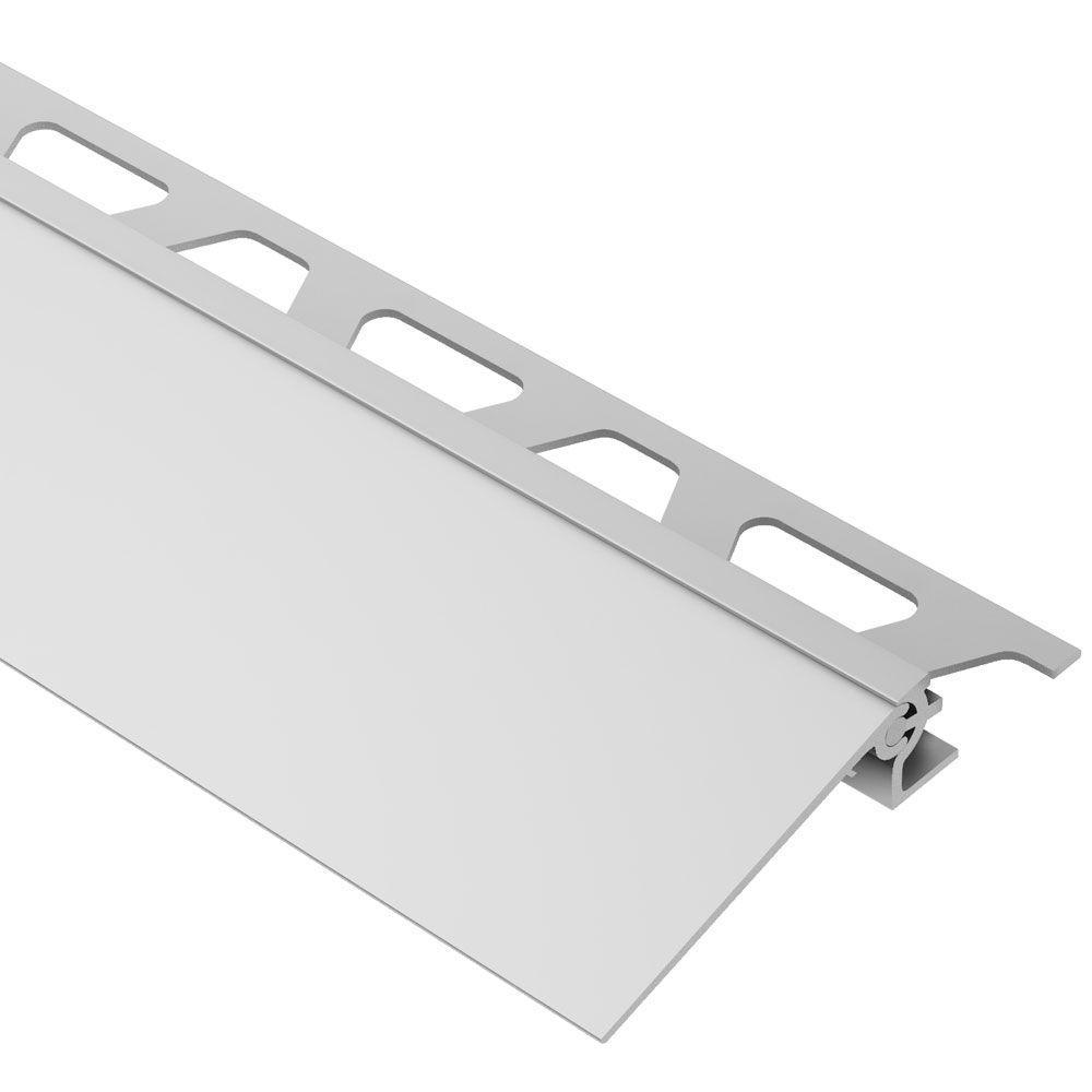 Schluter Reno V Satin Anodized Aluminum 11 16 In X 8 Ft 2 1 2 In Metal Reducer Tile Edging Trim Aevt175b40 Tile Edge Floor Edging Tiles