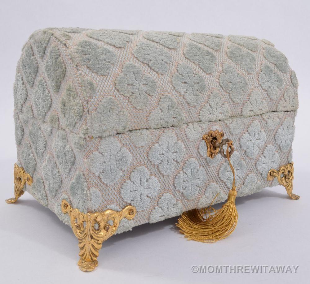 Vintage Flocked VELVET Domed Trunk CHEST JEWELRY Box ...