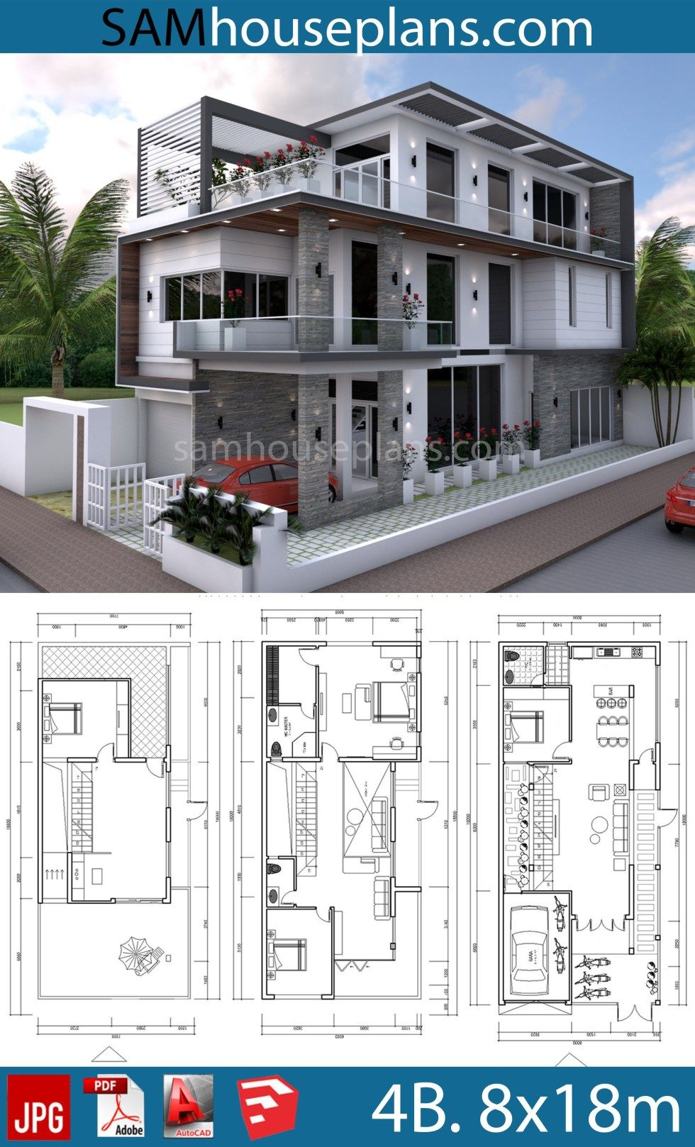House Plans 8x18m With 4 Bedrooms Sam House Plans Luxury House Plans Dream House Plans House Layout Plans