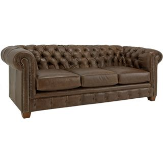 Hancock Tufted Distressed Brown Italian Leather Sofa   Overstock.com  Shopping   The Best Deals